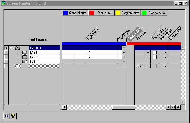 Element List in Graphical Mode