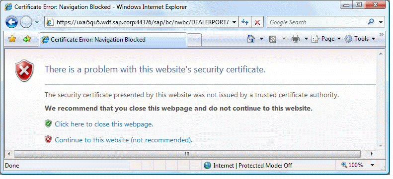 7.7 Certificate Error Popups in the Browser Locate this document in ...