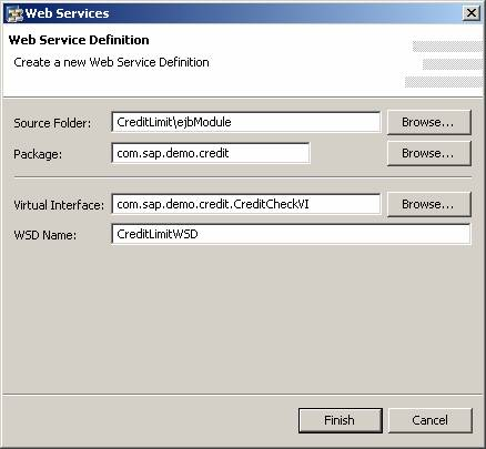 Creating a Web Service Definition (SAP Library - Using Java)