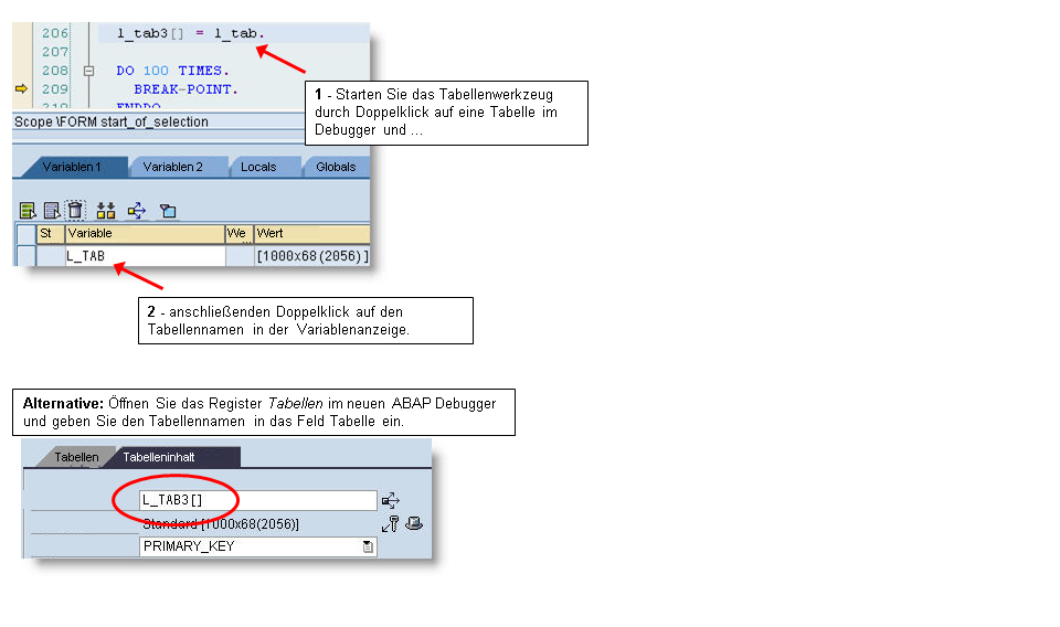 Tabellenwerkzeug: Arbeiten mit internen Tabellen im ABAP Debugger