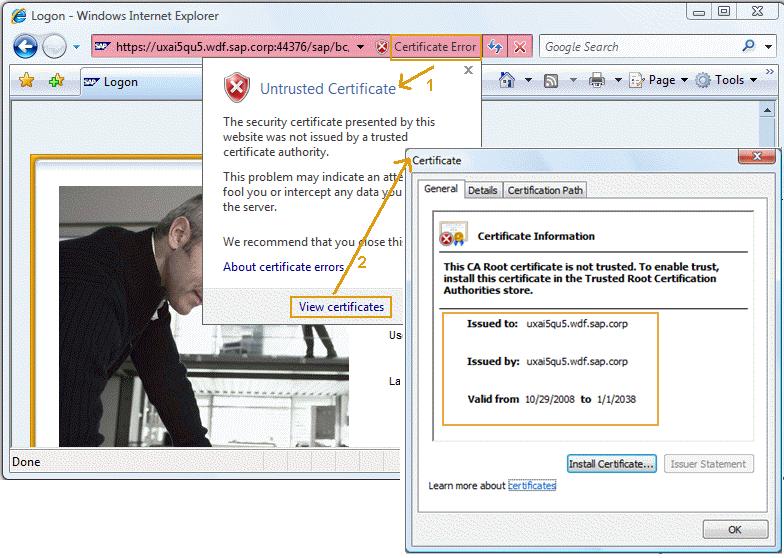 76 Certificate Error Popups In The Browser