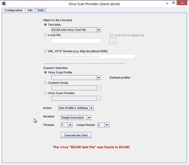 Testing the VSA using the SAP NW-VSI Java GUI
