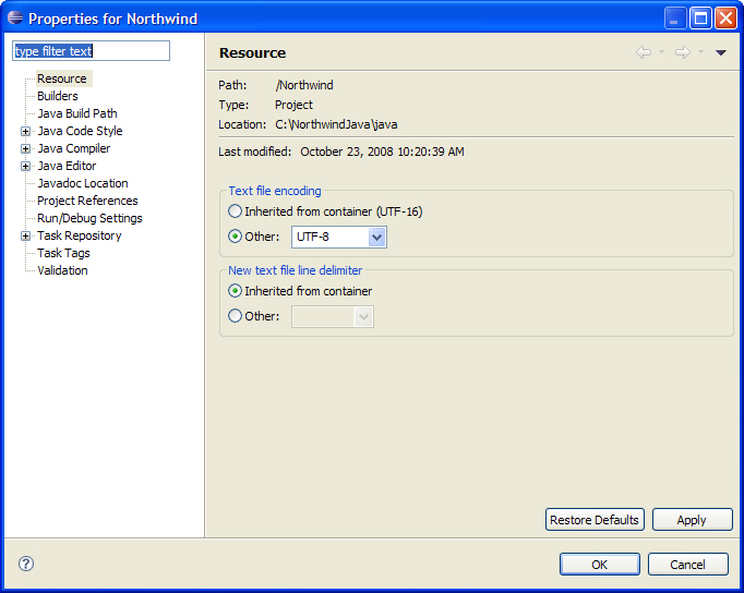 Configuring Eclipse File Encoding for Agentry Projects