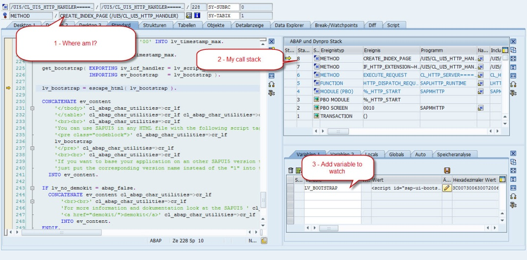 SAPUI5 Troubleshooting ABAP Debugger
